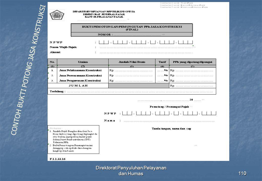 Direktorat Penyuluhan Pelayanan dan Humas110 CONTOH BUKTI POTONG JASA KONSTRUKSI