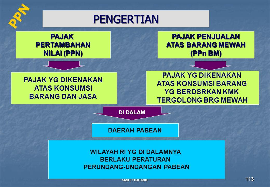 Direktorat Penyuluhan Pelayanan dan Humas113 PENGERTIAN PAJAKPERTAMBAHAN NILAI (PPN) PAJAK YG DIKENAKAN ATAS KONSUMSI BARANG DAN JASA PAJAK PENJUALAN