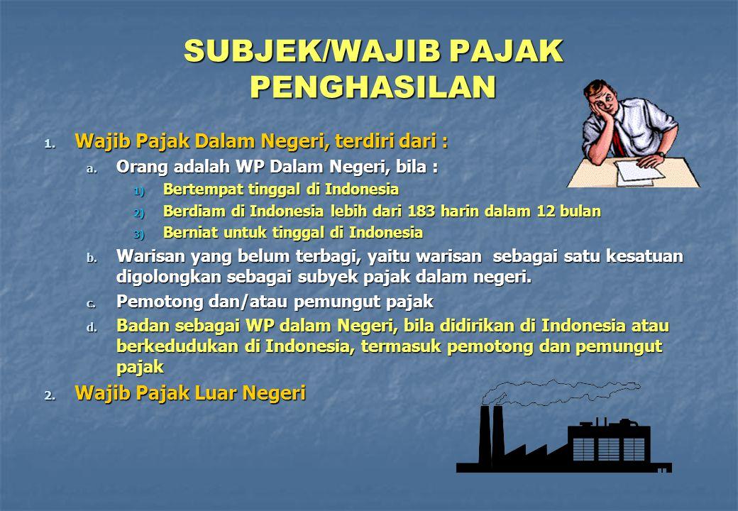 SUBJEK/WAJIB PAJAK PENGHASILAN 1. Wajib Pajak Dalam Negeri, terdiri dari : a. Orang adalah WP Dalam Negeri, bila : 1) Bertempat tinggal di Indonesia 2