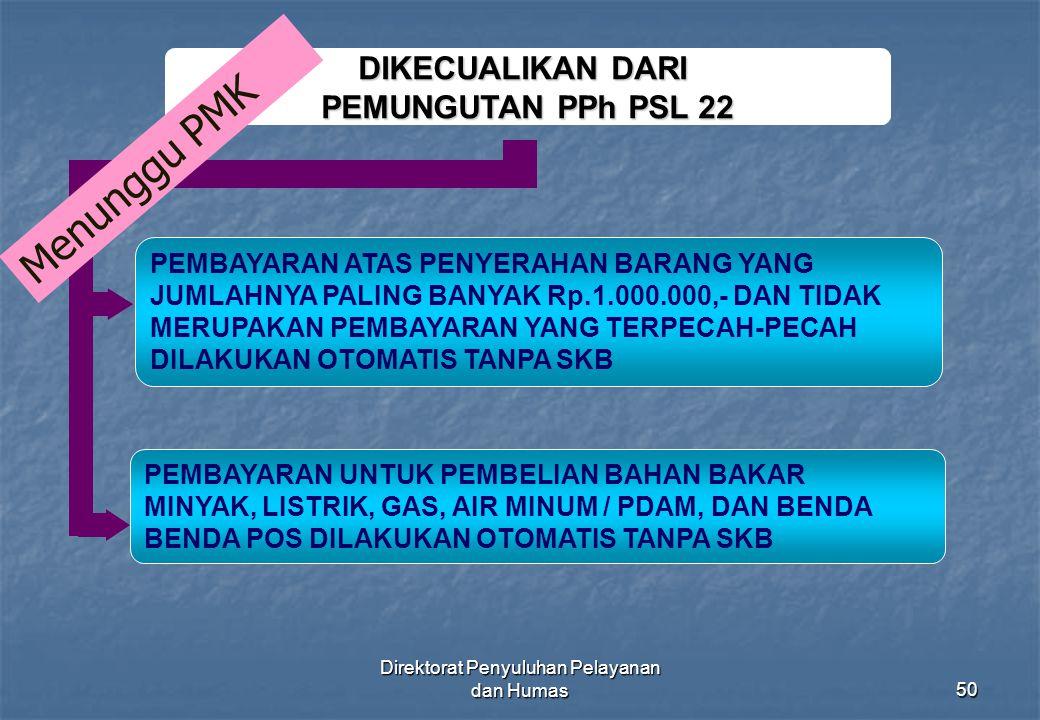 Direktorat Penyuluhan Pelayanan dan Humas50 DIKECUALIKAN DARI PEMUNGUTAN PPh PSL 22 PEMBAYARAN ATAS PENYERAHAN BARANG YANG JUMLAHNYA PALING BANYAK Rp.