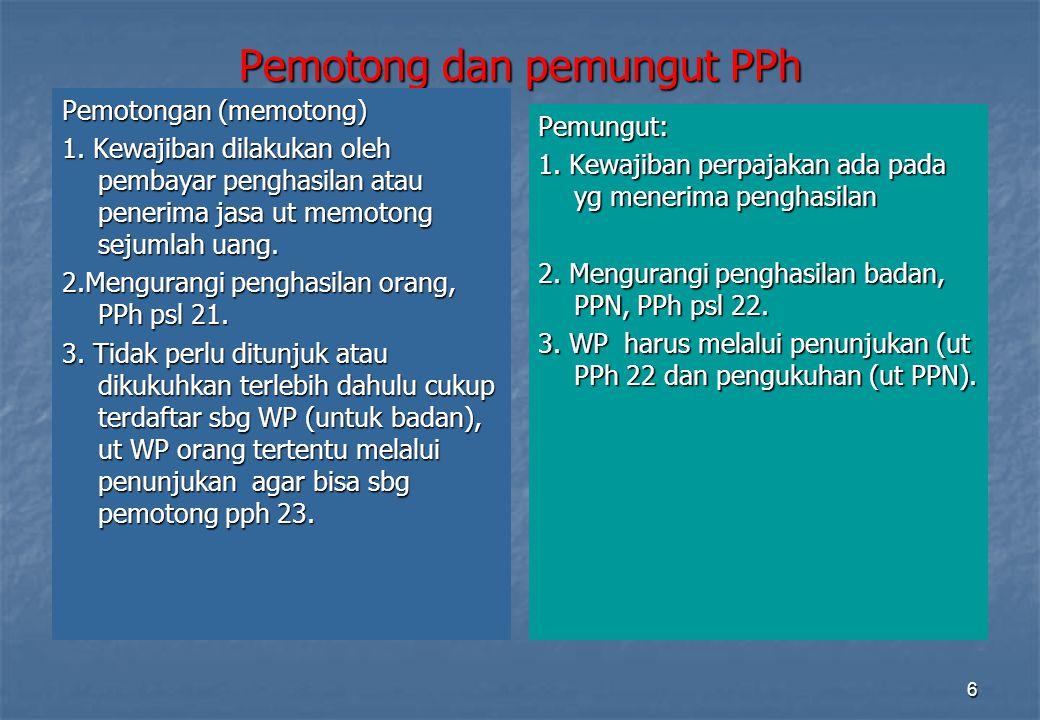 Direktorat Penyuluhan Pelayanan dan Humas37 Penghitungan PPh Pasal 21 ATAS PENGHASILAN BERUPA UPAH HARIAN, MINGGUAN, SATUAN, BORONGAN, DAN UANG SAKU HARIAN PKP SEBULAN PPh SETAHUN DIBAYAR BULANAN DIKURANGI PTKP SEBULAN PKP DISETAHUNKAN X TARIF PPh Ps.17 PPh SEBULAN JIKA WP TDK MEMILIKI NPWP MAKA TARIFNYA 20% LEBIH TINGGI
