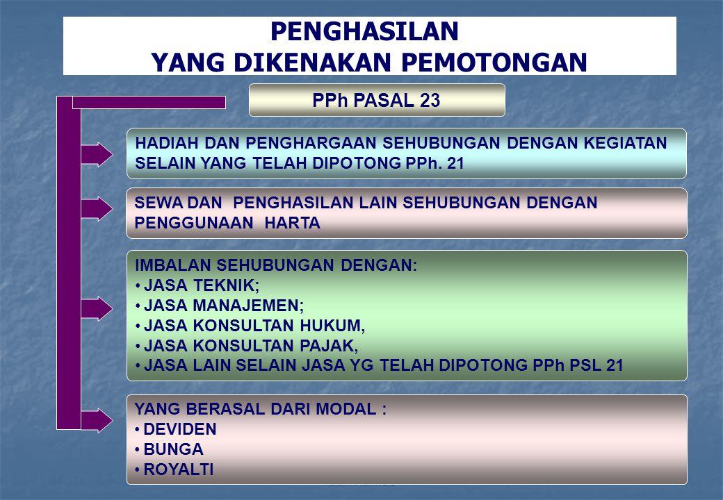 Direktorat Penyuluhan Pelayanan dan Humas60 PENGHASILAN YANG DIKENAKAN PEMOTONGAN PPh PASAL 23 HADIAH DAN PENGHARGAAN SEHUBUNGAN DENGAN KEGIATAN SELAI