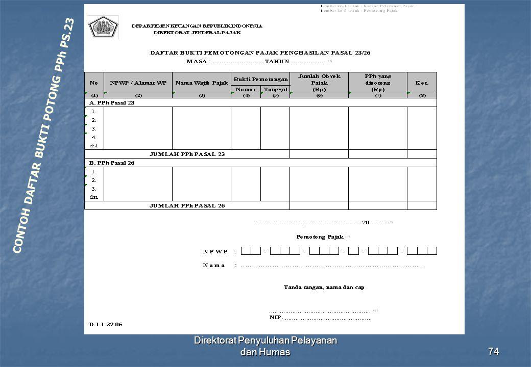 Direktorat Penyuluhan Pelayanan dan Humas74 CONTOH DAFTAR BUKTI POTONG PPh PS.23