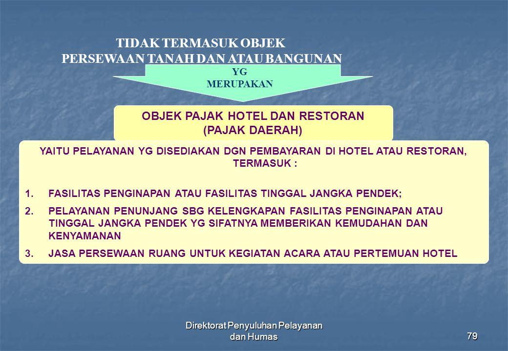 Direktorat Penyuluhan Pelayanan dan Humas79 TIDAK TERMASUK OBJEK PERSEWAAN TANAH DAN ATAU BANGUNAN OBJEK PAJAK HOTEL DAN RESTORAN (PAJAK DAERAH) YG ME