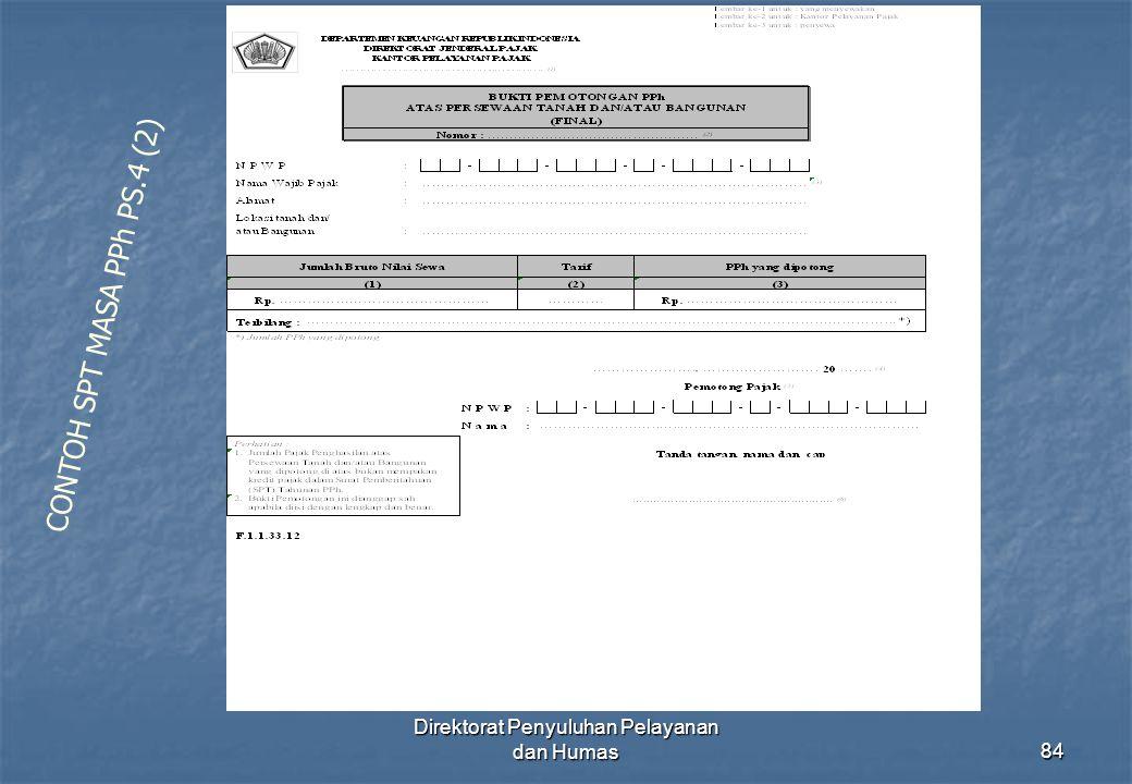 Direktorat Penyuluhan Pelayanan dan Humas84 CONTOH SPT MASA PPh PS.4 (2)