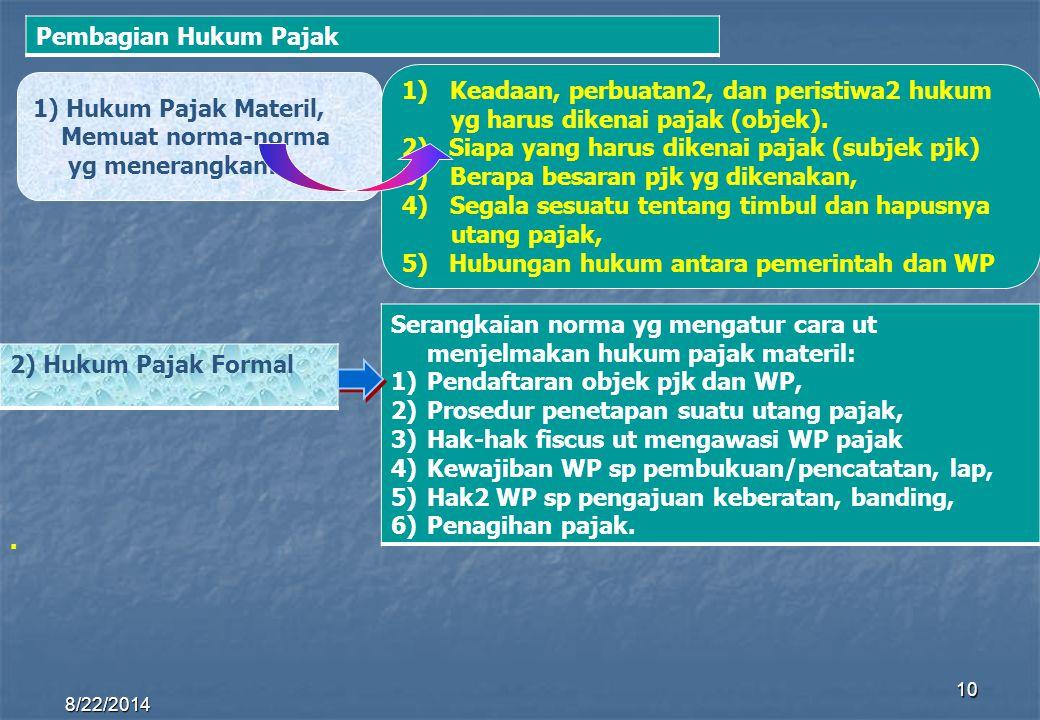 8/22/2014 10 1) Hukum Pajak Materil, Memuat norma-norma yg menerangkan: 1)Keadaan, perbuatan2, dan peristiwa2 hukum yg harus dikenai pajak (objek). 2)