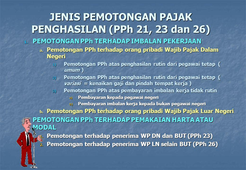 JENIS PEMOTONGAN PAJAK PENGHASILAN (PPh 21, 23 dan 26) 1. P EMOTONGAN PPh TERHADAP IMBALAN PEKERJAAN a. P emotongan PPh terhadap orang pribadi Wajib P