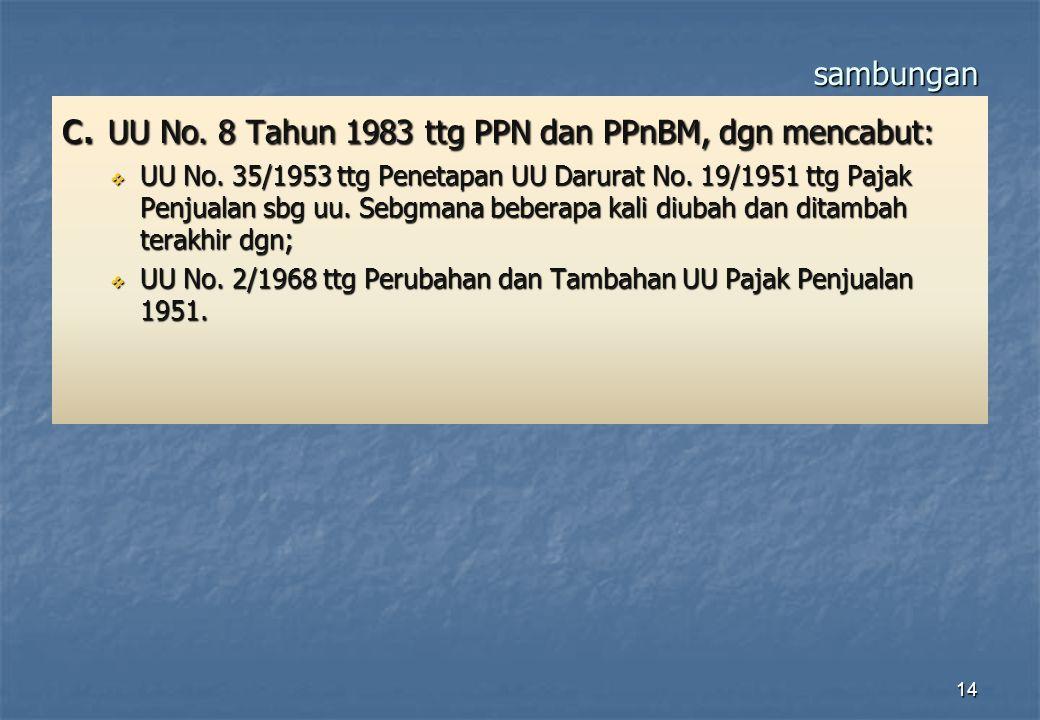 sambungan c. UU No. 8 Tahun 1983 ttg PPN dan PPnBM, dgn mencabut:  UU No. 35/1953 ttg Penetapan UU Darurat No. 19/1951 ttg Pajak Penjualan sbg uu. Se