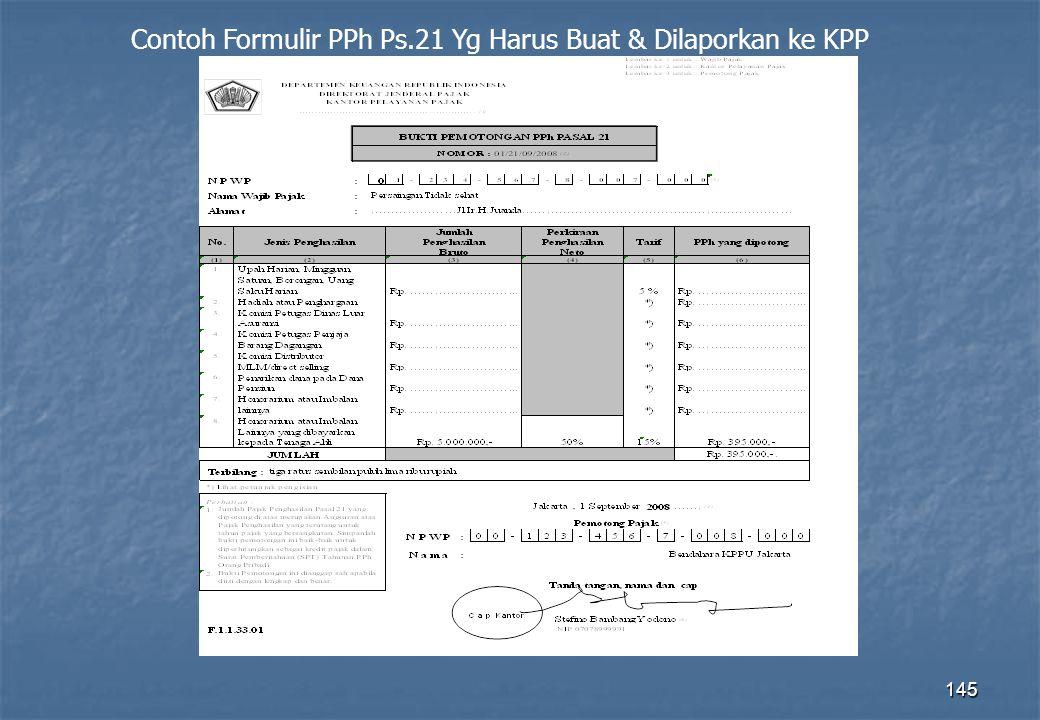 145 Contoh Formulir PPh Ps.21 Yg Harus Buat & Dilaporkan ke KPP