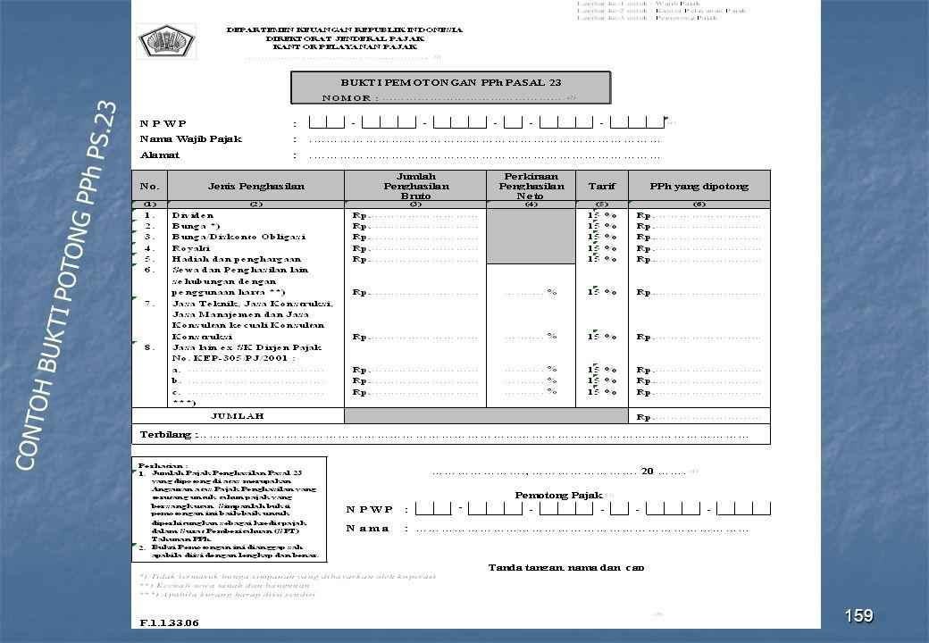 Direktorat Penyuluhan Pelayanan dan Humas159 CONTOH BUKTI POTONG PPh PS.23