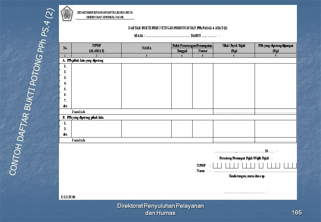 Direktorat Penyuluhan Pelayanan dan Humas165 CONTOH DAFTAR BUKTI POTONG PPh PS.4 (2)