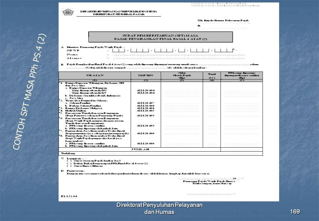Direktorat Penyuluhan Pelayanan dan Humas169 CONTOH SPT MASA PPh PS.4 (2)