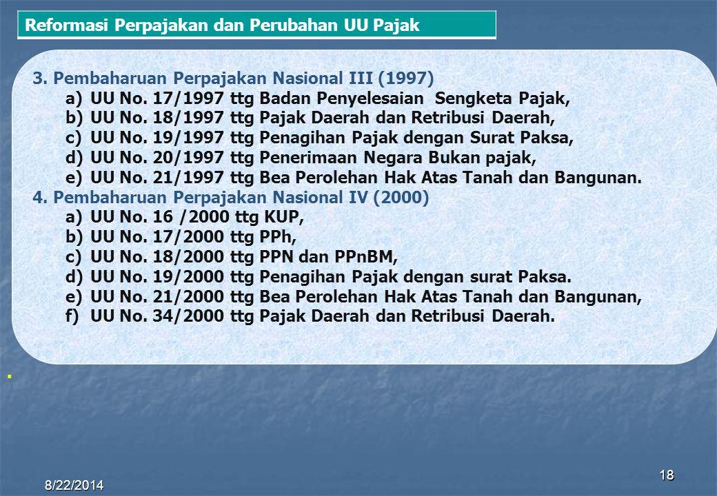 8/22/2014 18 3. Pembaharuan Perpajakan Nasional III (1997) a)UU No. 17/1997 ttg Badan Penyelesaian Sengketa Pajak, b)UU No. 18/1997 ttg Pajak Daerah d