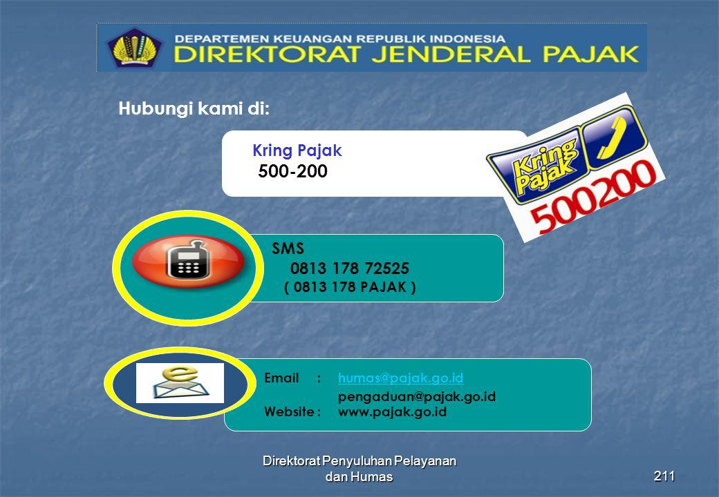 Direktorat Penyuluhan Pelayanan dan Humas211 Hubungi kami di: 500-200 Kring Pajak Email: humas@pajak.go.id pengaduan@pajak.go.id Website: www.pajak.go