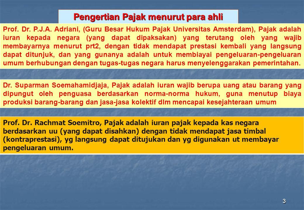 3 Pengertian Pajak menurut para ahli Dr. Suparman Soemahamidjaja, Pajak adalah iuran wajib berupa uang atau barang yang dipungut oleh penguasa berdasa