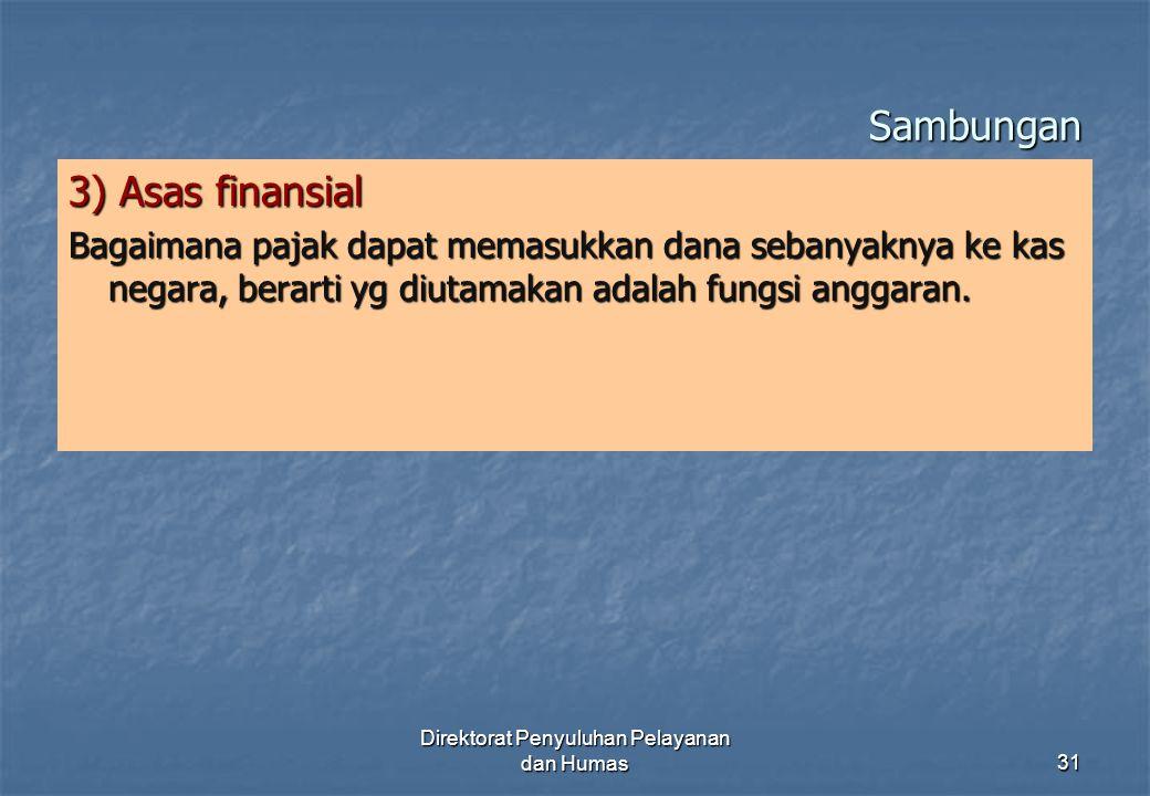 Sambungan 3) Asas finansial Bagaimana pajak dapat memasukkan dana sebanyaknya ke kas negara, berarti yg diutamakan adalah fungsi anggaran. Direktorat