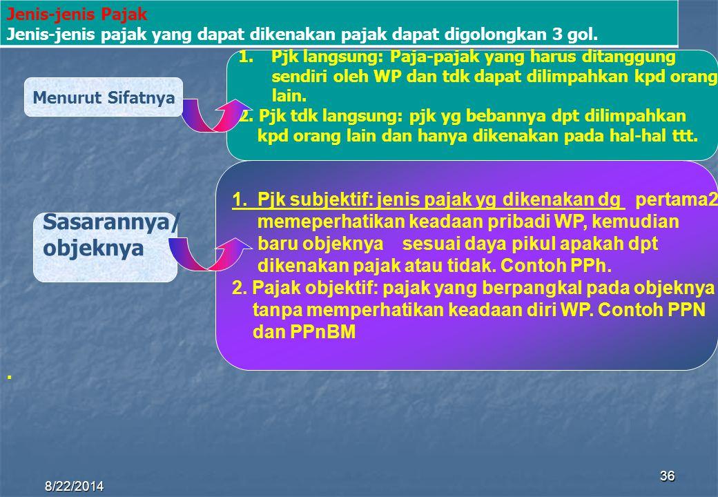 8/22/2014 36 Sasarannya/ objeknya 1.Pjk langsung: Paja-pajak yang harus ditanggung sendiri oleh WP dan tdk dapat dilimpahkan kpd orang lain. 2. Pjk td