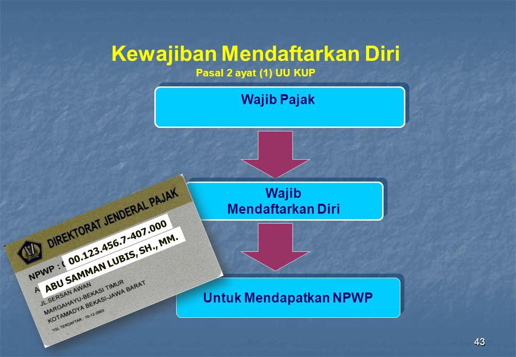 43 Kewajiban Mendaftarkan Diri Pasal 2 ayat (1) UU KUP Wajib Pajak Wajib Mendaftarkan Diri Wajib Mendaftarkan Diri Untuk Mendapatkan NPWP 00.123.456.7