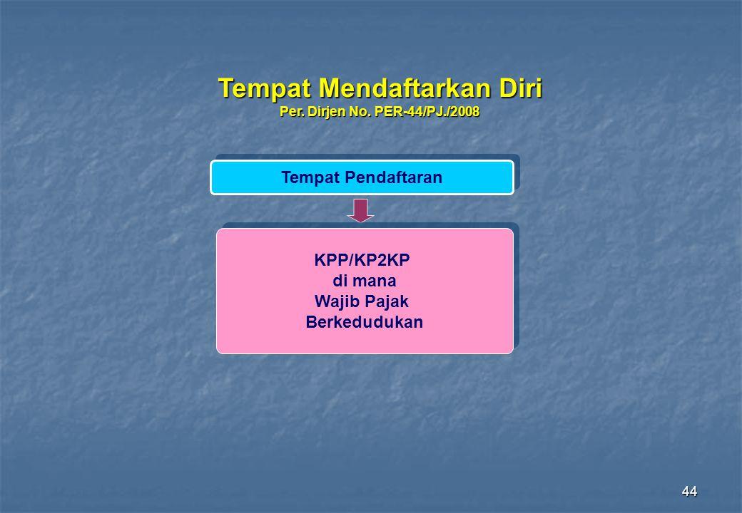 44 Tempat Mendaftarkan Diri Per. Dirjen No. PER-44/PJ./2008 Tempat Pendaftaran KPP/KP2KP di mana Wajib Pajak Berkedudukan KPP/KP2KP di mana Wajib Paja