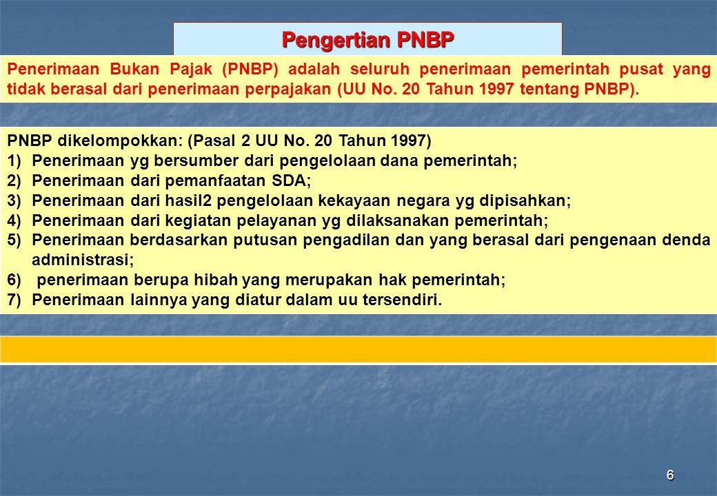 6 Pengertian PNBP PNBP dikelompokkan: (Pasal 2 UU No. 20 Tahun 1997) 1)Penerimaan yg bersumber dari pengelolaan dana pemerintah; 2)Penerimaan dari pem