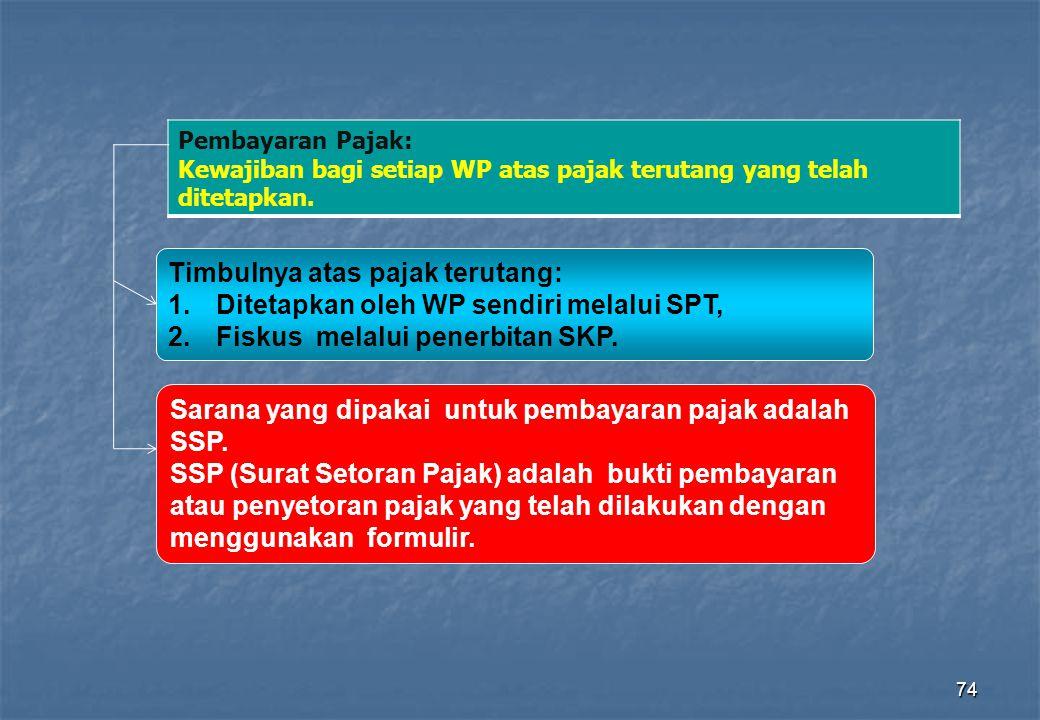 74 Timbulnya atas pajak terutang: 1.Ditetapkan oleh WP sendiri melalui SPT, 2.Fiskus melalui penerbitan SKP. Sarana yang dipakai untuk pembayaran paja