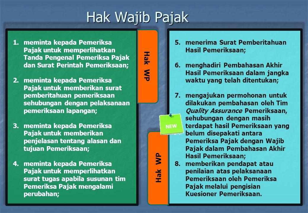 Hak Wajib Pajak Hak WP 1.meminta kepada Pemeriksa Pajak untuk memperlihatkan Tanda Pengenal Pemeriksa Pajak dan Surat Perintah Pemeriksaan; 2.meminta