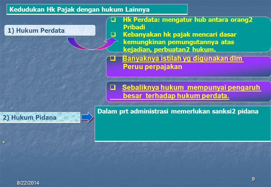 8/22/2014 9 1) Hukum Perdata HHk Perdata: mengatur hub antara orang2 Pribadi KKebanyakan hk pajak mencari dasar kemungkinan pemungutannya atas kej