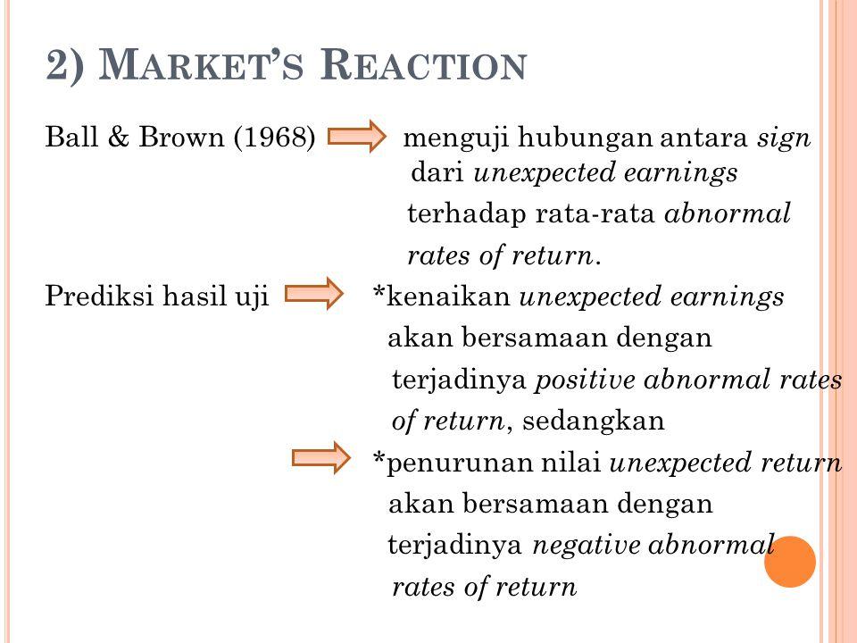 2) M ARKET ' S R EACTION Ball & Brown (1968) menguji hubungan antara sign dari unexpected earnings terhadap rata-rata abnormal rates of return. Predik