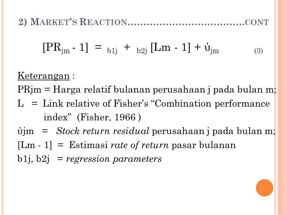 2) M ARKET ' S R EACTION ………………………………. CONT [PR jm - 1] = b1j + b2j [Lm - 1] + ύ jm (3) Keterangan : PRjm = Harga relatif bulanan perusahaan j pada bu