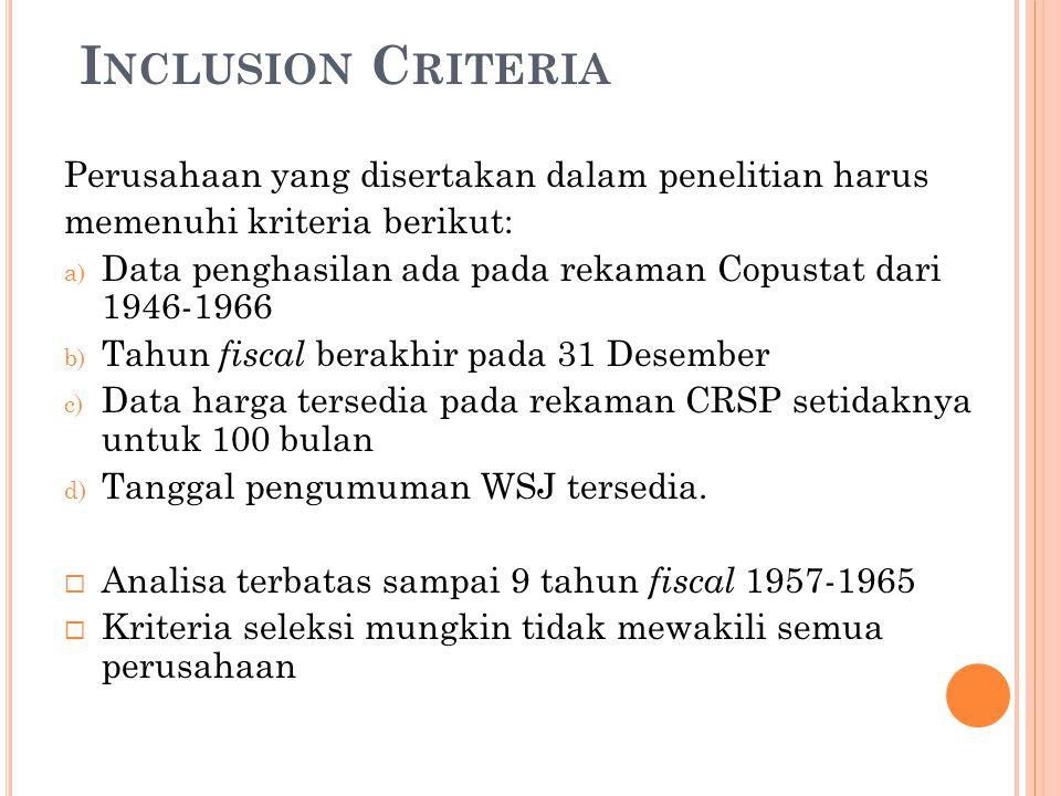 I NCLUSION C RITERIA Perusahaan yang disertakan dalam penelitian harus memenuhi kriteria berikut: a) Data penghasilan ada pada rekaman Copustat dari 1