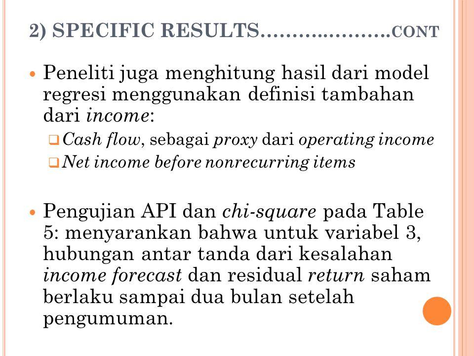 2) SPECIFIC RESULTS………..………. CONT Peneliti juga menghitung hasil dari model regresi menggunakan definisi tambahan dari income :  Cash flow, sebagai p