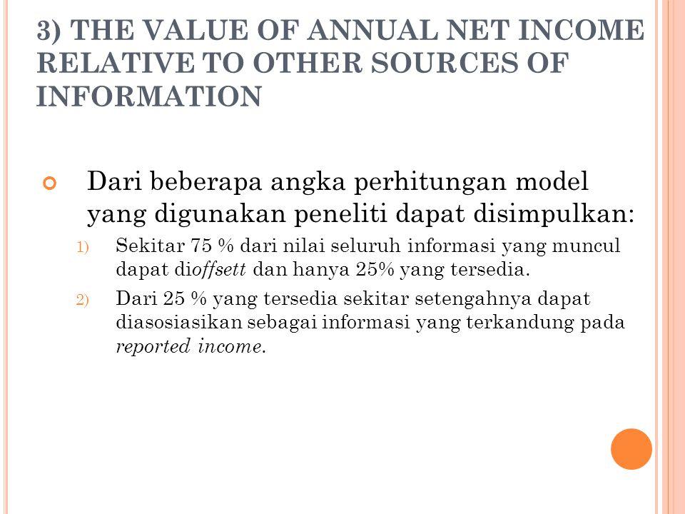 3) THE VALUE OF ANNUAL NET INCOME RELATIVE TO OTHER SOURCES OF INFORMATION Dari beberapa angka perhitungan model yang digunakan peneliti dapat disimpu