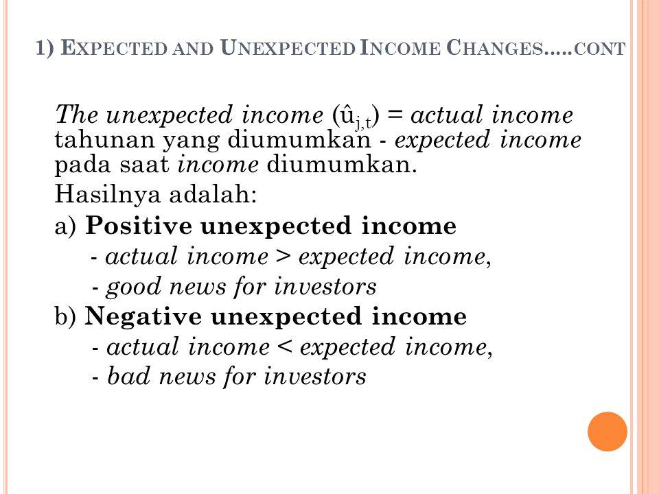 2) M ARKET ' S R EACTION Ball & Brown (1968) menguji hubungan antara sign dari unexpected earnings terhadap rata-rata abnormal rates of return.