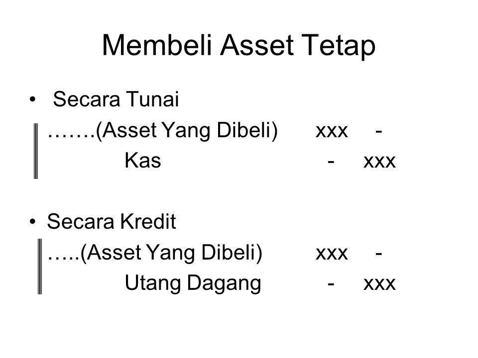 Membeli Asset Tetap Secara Tunai …….(Asset Yang Dibeli)xxx - Kas -xxx Secara Kredit …..(Asset Yang Dibeli)xxx - Utang Dagang -xxx