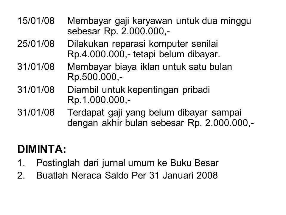 15/01/08Membayar gaji karyawan untuk dua minggu sebesar Rp.