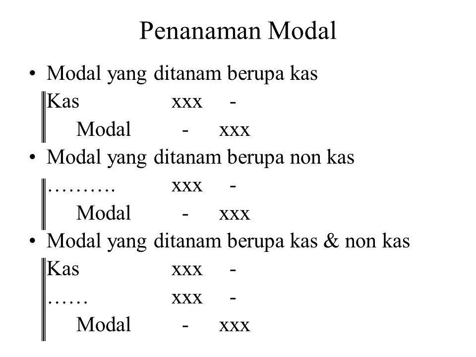 Penanaman Modal Modal yang ditanam berupa kas Kasxxx - Modal -xxx Modal yang ditanam berupa non kas ……….xxx - Modal -xxx Modal yang ditanam berupa kas & non kas Kasxxx - ……xxx - Modal -xxx
