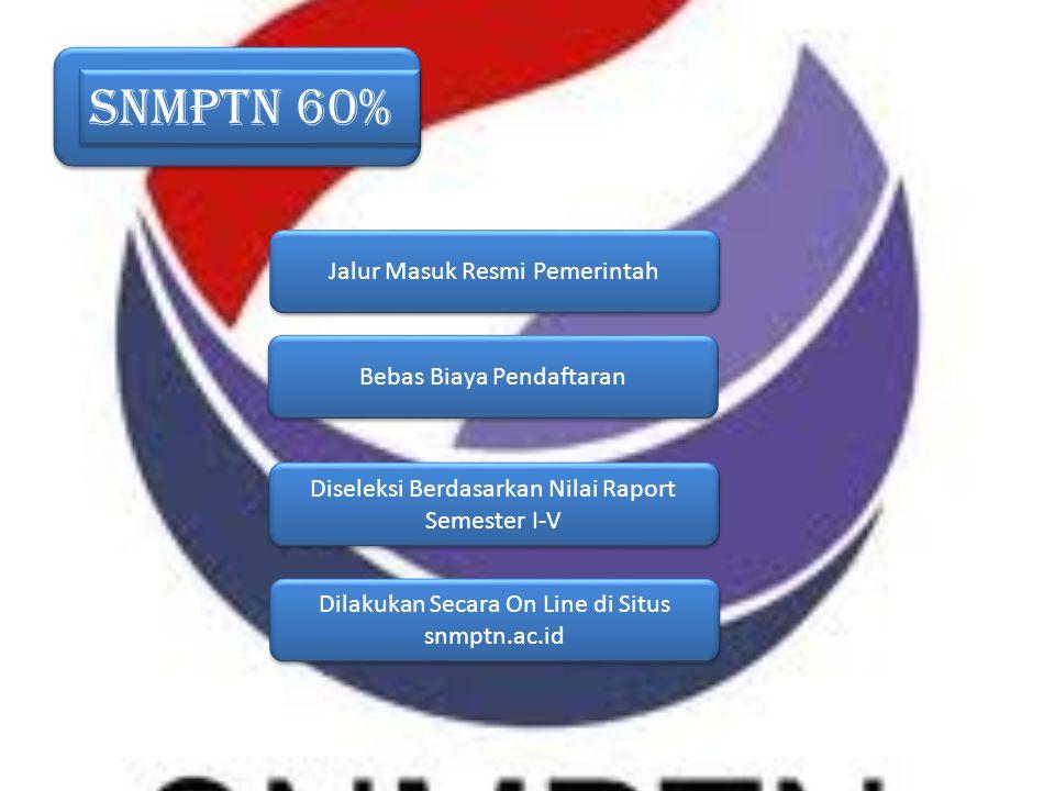 SNMPTN 60% Jalur Masuk Resmi Pemerintah Bebas Biaya Pendaftaran Diseleksi Berdasarkan Nilai Raport Semester I-V Dilakukan Secara On Line di Situs snmp