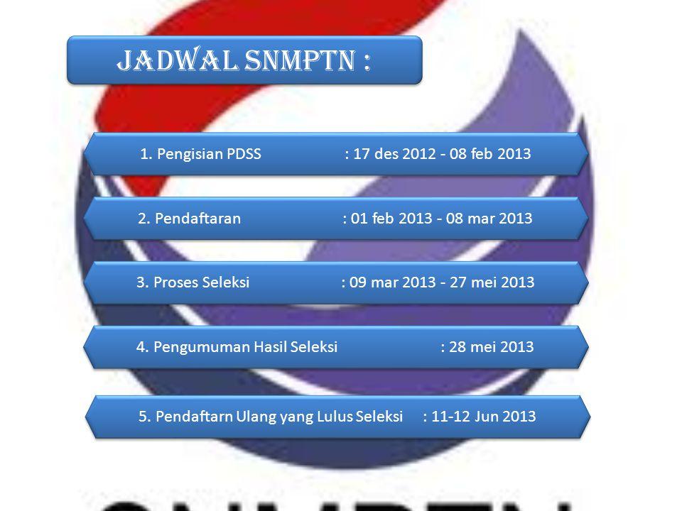 Jadwal SNMPTN : 1. Pengisian PDSS: 17 des 2012 - 08 feb 2013 5. Pendaftarn Ulang yang Lulus Seleksi : 11-12 Jun 2013 2. Pendaftaran: 01 feb 2013 - 08
