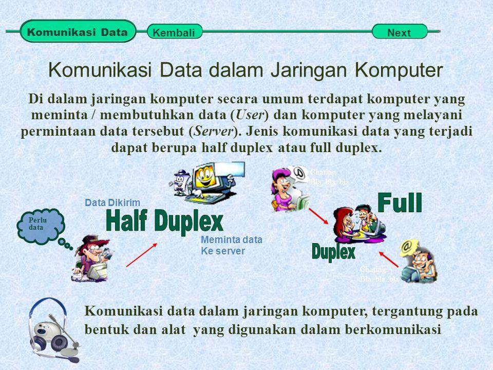 Komunikasi Data dalam Jaringan Komputer Komunikasi data dalam jaringan komputer, tergantung pada bentuk dan alat yang digunakan dalam berkomunikasi Di