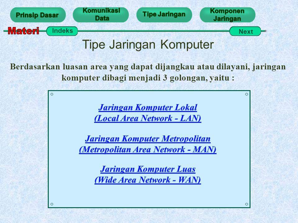 Tipe Jaringan Komputer Berdasarkan luasan area yang dapat dijangkau atau dilayani, jaringan komputer dibagi menjadi 3 golongan, yaitu : Indeks Next