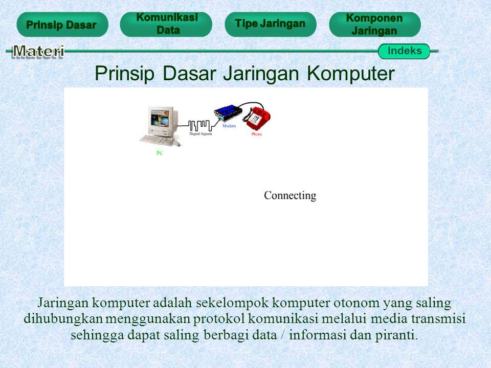 Prinsip Dasar Jaringan Komputer Jaringan komputer adalah sekelompok komputer otonom yang saling dihubungkan menggunakan protokol komunikasi melalui me