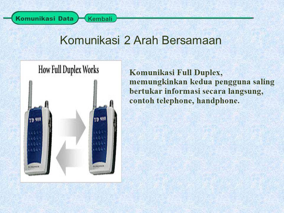 Komunikasi Full Duplex, memungkinkan kedua pengguna saling bertukar informasi secara langsung, contoh telephone, handphone. Komunikasi 2 Arah Bersamaa