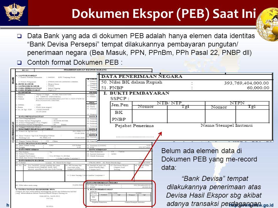 """http://www.beacukai.go.idhttp://www.insw.go.id  Data Bank yang ada di dokumen PEB adalah hanya elemen data identitas """"Bank Devisa Persepsi"""" tempat di"""