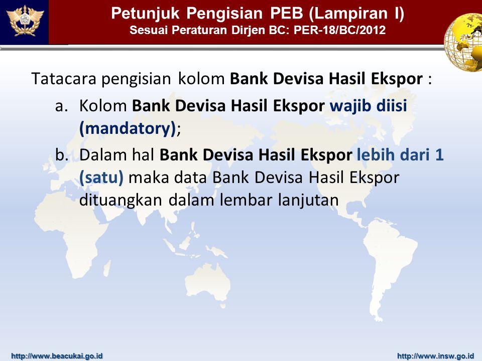 http://www.beacukai.go.idhttp://www.insw.go.id Petunjuk Pengisian PEB (Lampiran I) Sesuai Peraturan Dirjen BC: PER-18/BC/2012 Tatacara pengisian kolom