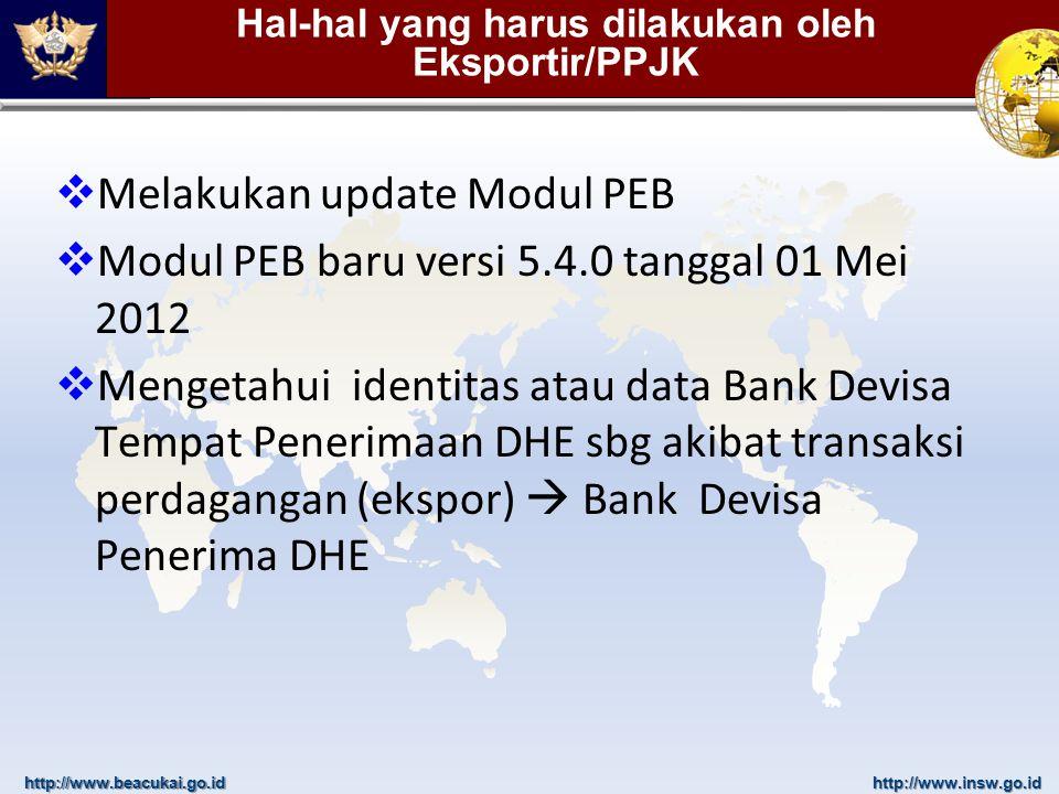 http://www.beacukai.go.idhttp://www.insw.go.id Hal-hal yang harus dilakukan oleh Eksportir/PPJK  Melakukan update Modul PEB  Modul PEB baru versi 5.