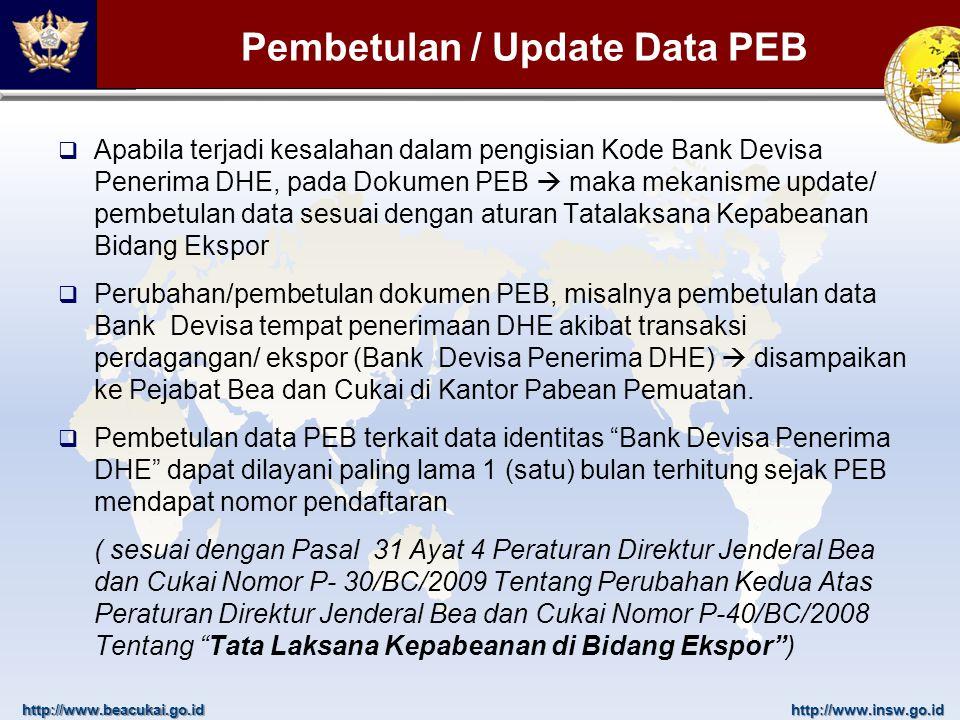 http://www.beacukai.go.idhttp://www.insw.go.id Pembetulan / Update Data PEB  Apabila terjadi kesalahan dalam pengisian Kode Bank Devisa Penerima DHE,
