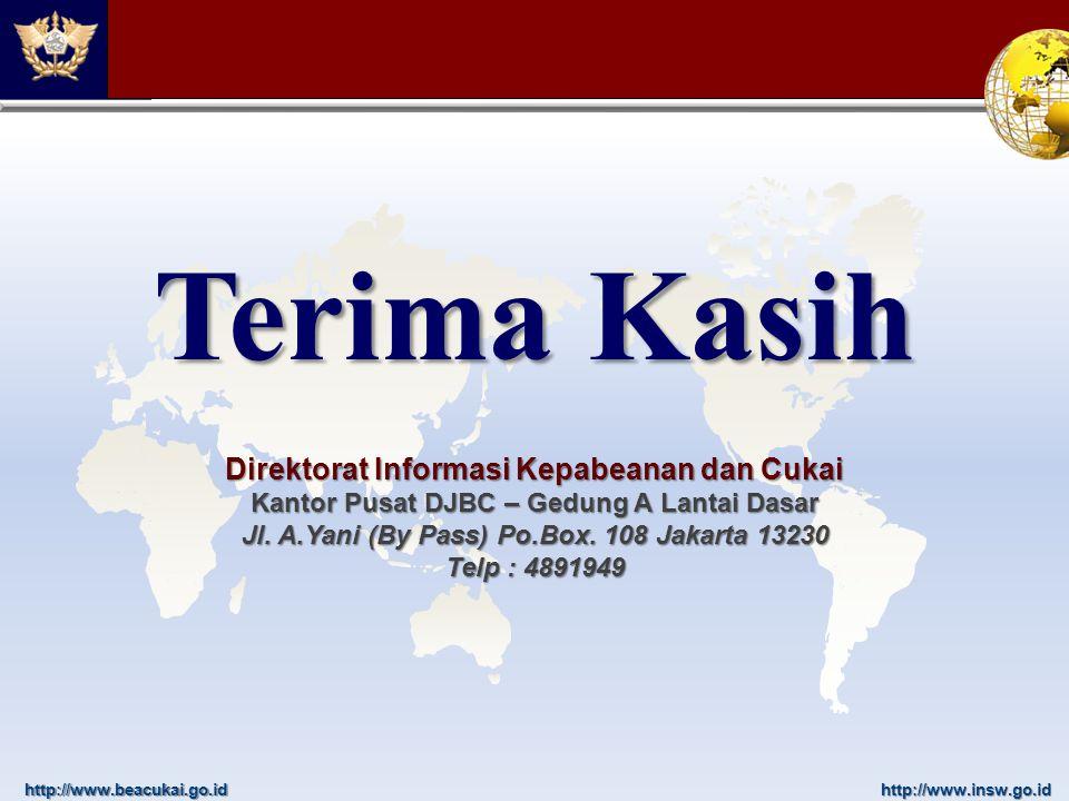 http://www.beacukai.go.idhttp://www.insw.go.id Terima Kasih Direktorat Informasi Kepabeanan dan Cukai Kantor Pusat DJBC – Gedung A Lantai Dasar Jl. A.