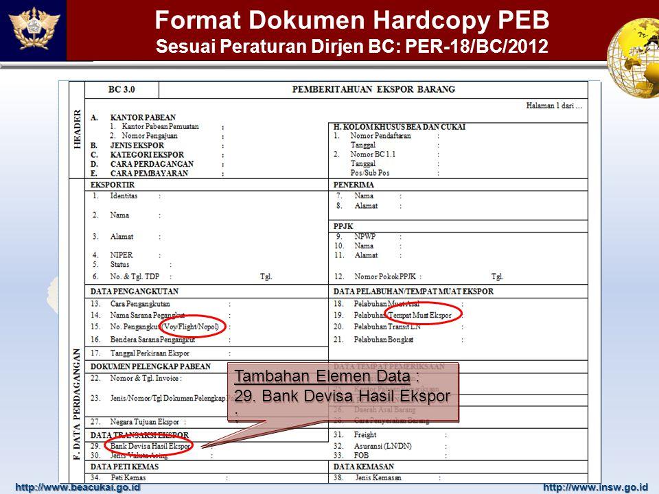 http://www.beacukai.go.idhttp://www.insw.go.id Pengisian Bank Devisa Hasil Ekspor Tentukan pilihan Bank DHE kemudian tekan tombol Pilih Kolom tanggal dokumen akan terisi otomatis sesuai dengan tanggal pada nomor aju