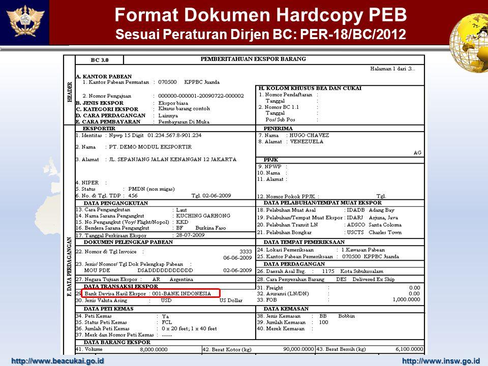 http://www.beacukai.go.idhttp://www.insw.go.id Format Dokumen Hardcopy PEB Sesuai Peraturan Dirjen BC: PER-18/BC/2012