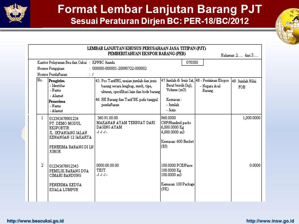 http://www.beacukai.go.idhttp://www.insw.go.id Format Lembar Lanjutan Barang PJT Sesuai Peraturan Dirjen BC: PER-18/BC/2012